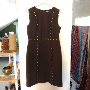 Michael Kors sleeveless dress brown  & brass